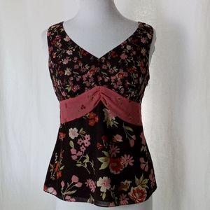 Ann Taylor LOFT brown and pink floral tank sz 8